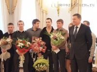 После церемонии бракосочетания молодую семью поздравил Губернатор Вологодской области