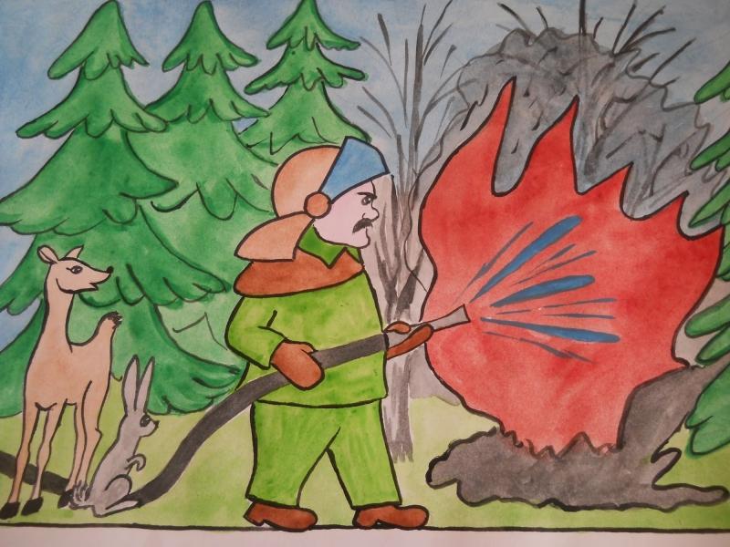 на лесах пожарная в рисунки безопасность тему