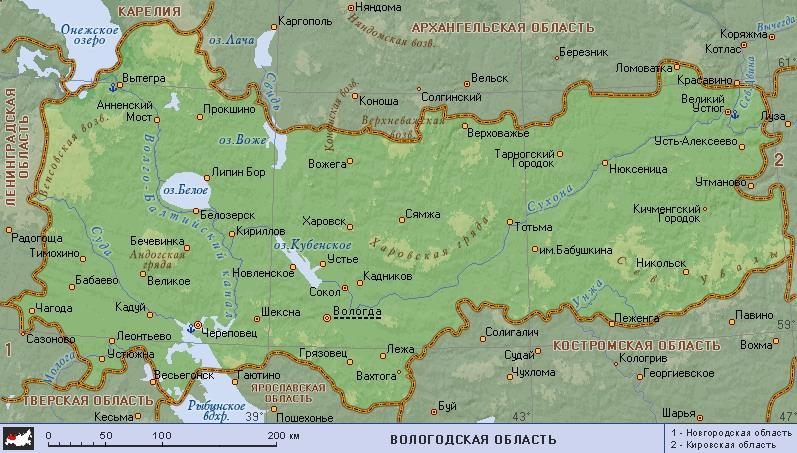 Карта Вологодской области: города и села